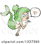 Clipart Of A Textured White Mermaid Blowing A Kiss With A Heart 2 Royalty Free Vector Illustration