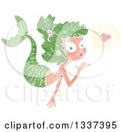 Clipart Of A Textured White Mermaid Blowing A Kiss With A Heart 3 Royalty Free Vector Illustration