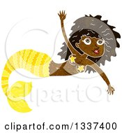 Clipart Of A Textured Black Mermaid Swimming 4 Royalty Free Vector Illustration
