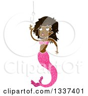Clipart Of A Textured Black Mermaid Reaching For A Hook Royalty Free Vector Illustration