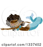 Clipart Of A Textured Black Mermaid Swimming 2 Royalty Free Vector Illustration