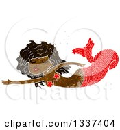 Clipart Of A Textured Black Mermaid Swimming 3 Royalty Free Vector Illustration