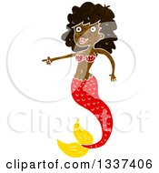 Clipart Of A Textured Black Topless Mermaid Pointing Royalty Free Vector Illustration