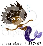 Clipart Of A Textured Black Purple Black Mermaid Swimming And Pointing Royalty Free Vector Illustration