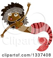 Clipart Of A Textured Black Topless Mermaid Swimming 2 Royalty Free Vector Illustration