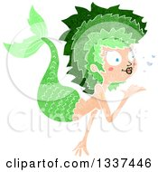 Textured Green White Mermaid Blowing A Kiss 3