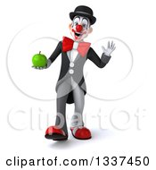 Clipart Of A 3d White And Black Clown Holding A Green Apple Walking And Waving Royalty Free Illustration