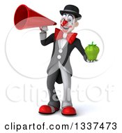 Clipart Of A 3d White And Black Clown Holding A Green Bell Pepper And Announcing With A Megaphone Royalty Free Illustration
