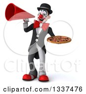 Clipart Of A 3d White And Black Clown Holding A Pizza And Announcing With A Megaphone Royalty Free Illustration