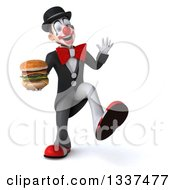 Clipart Of A 3d White And Black Clown Holding A Double Cheeseburger Dancing And Waving Royalty Free Illustration