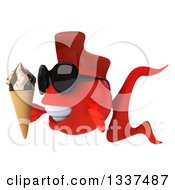 3d Red Fish Wearing Sunglasses Facing Left And Holding A Waffle Ice Cream Cone