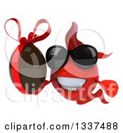 Clipart Of A 3d Red Fish Wearing Sunglasses And Holding A Chocolate Easter Egg Royalty Free Illustration by Julos