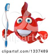 Clipart Of A 3d Red Fish Holding A Toothbrush Royalty Free Illustration