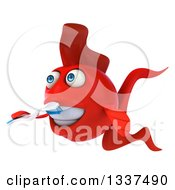 3d Red Fish Facing Left And Brushing His Teeth With A Toothbrush