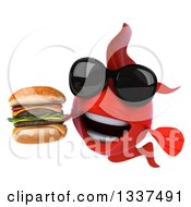Clipart Of A 3d Red Fish Wearing Sunglasses And Holding A Double Cheeseburger Royalty Free Illustration