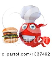 Clipart Of A 3d Red Fish Chef Holding A Double Cheeseburger Royalty Free Illustration