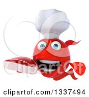 Clipart Of A 3d Red Fish Chef Holding A Beef Steak Royalty Free Illustration