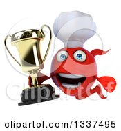Clipart Of A 3d Red Fish Chef Holding A Trophy Royalty Free Illustration