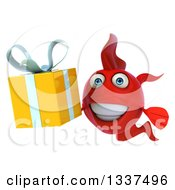 3d Red Fish Holding A Gift