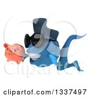 Clipart Of A 3d Blue Fish Wearing Sunglasses And Holding A Piggy Bank And Facing Left Royalty Free Illustration