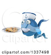 Clipart Of A 3d Happy Blue Sailor Fish Facing Slightly Left And Holding A Plate Of French Fries Royalty Free Illustration by Julos