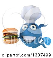 Clipart Of A 3d Blue Fish Chef Holding A Double Cheeseburger Royalty Free Illustration