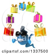 Clipart Of A 3d Blue Fish Wearing Sunglasses Facing Slightly Left And Juggling Gifts Royalty Free Illustration by Julos