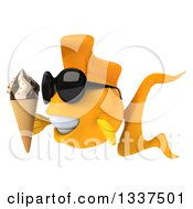Clipart Of A 3d Goldfish Wearing Sunglasses Facing Left Holding A Waffle Ice Cream Cone Royalty Free Illustration