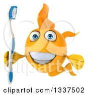 Clipart Of A 3d Happy Yellow Fish Holding A Toothbrush 2 Royalty Free Illustration