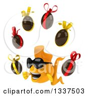 Clipart Of A 3d Happy Yellow Fish Wearing Sunglasses Facing Slightly Left And Juggling Chocolate Easter Eggs Royalty Free Illustration by Julos
