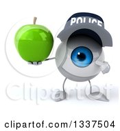 Clipart Of A 3d Blue Police Eyeball Character Holding And Pointing To A Green Apple Royalty Free Illustration
