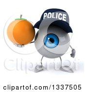 Clipart Of A 3d Blue Police Eyeball Character Holding A Navel Orange Royalty Free Illustration by Julos