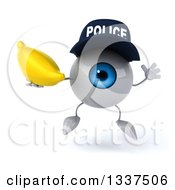 Clipart Of A 3d Blue Police Eyeball Character Holding A Banana And Jumping Royalty Free Illustration by Julos