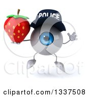 Clipart Of A 3d Blue Police Eyeball Character Holding A Strawberry And Jumping Royalty Free Illustration by Julos