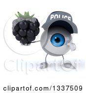 Clipart Of A 3d Blue Police Eyeball Character Holding And Pointing To A Blackberry Royalty Free Illustration by Julos