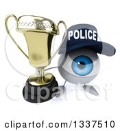 Clipart Of A 3d Blue Police Eyeball Character Holding Up A Trophy Royalty Free Illustration