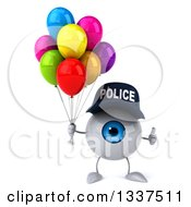 Clipart Of A 3d Blue Police Eyeball Character Giving A Thumb Up And Holding Party Balloons Royalty Free Illustration by Julos
