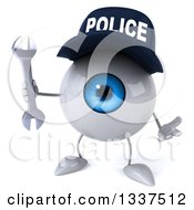Clipart Of A 3d Blue Police Eyeball Character Shrugging And Holding A Wrench Royalty Free Illustration