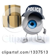 Clipart Of A 3d Blue Police Eyeball Character Holding Boxes Royalty Free Illustration by Julos