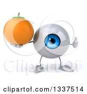 Clipart Of A 3d Blue Eyeball Character Holding A Navel Orange And Giving A Thumb Up Royalty Free Illustration