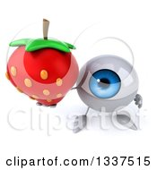 Clipart Of A 3d Blue Eyeball Character Holding Up A Strawberry Royalty Free Illustration