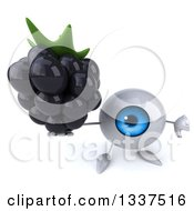 Clipart Of A 3d Blue Eyeball Character Holding Up A Thumb Down And Blackberry Royalty Free Illustration