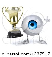 Clipart Of A 3d Blue Eyeball Character Holding Up A Finger And A Trophy Royalty Free Illustration