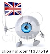 Clipart Of A 3d Blue Eyeball Character Holding A British Union Jack Flag And Walking Royalty Free Illustration