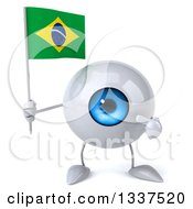 Clipart Of A 3d Blue Eyeball Character Holding And Pointing To A Brazilian Flag Royalty Free Illustration