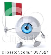 Clipart Of A 3d Blue Eyeball Character Holding An Italian Flag And Walking Royalty Free Illustration