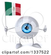 Clipart Of A 3d Blue Eyeball Character Holding A Mexican Flag And Giving A Thumb Up Royalty Free Illustration