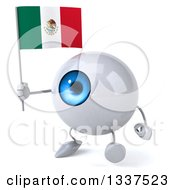 Clipart Of A 3d Blue Eyeball Character Holding A Mexican Flag And Walking Slightly To The Left Royalty Free Illustration