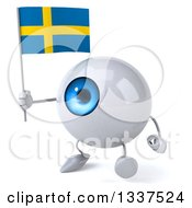 Clipart Of A 3d Blue Eyeball Character Holding A Swedish Flag And Walking Slightly To The Left Royalty Free Illustration