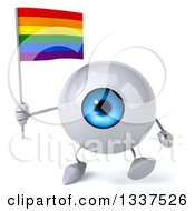 Clipart Of A 3d Blue Eyeball Character Holding A Rainbow Flag And Walking Royalty Free Illustration